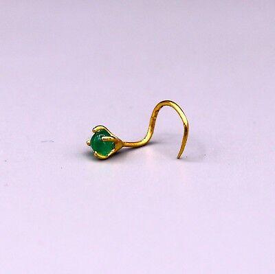22k Yellow Gold Handmade Single Stone Green Onyx Fabulous Nose Pin