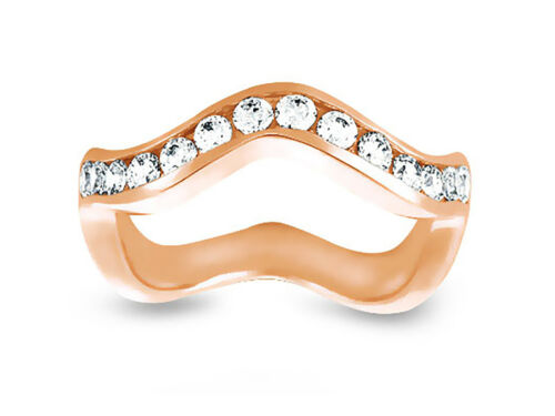 0.48ct Diamond Wedding Band Ring Wave 14k Rose Gold Round Cut Channel Set H SI2