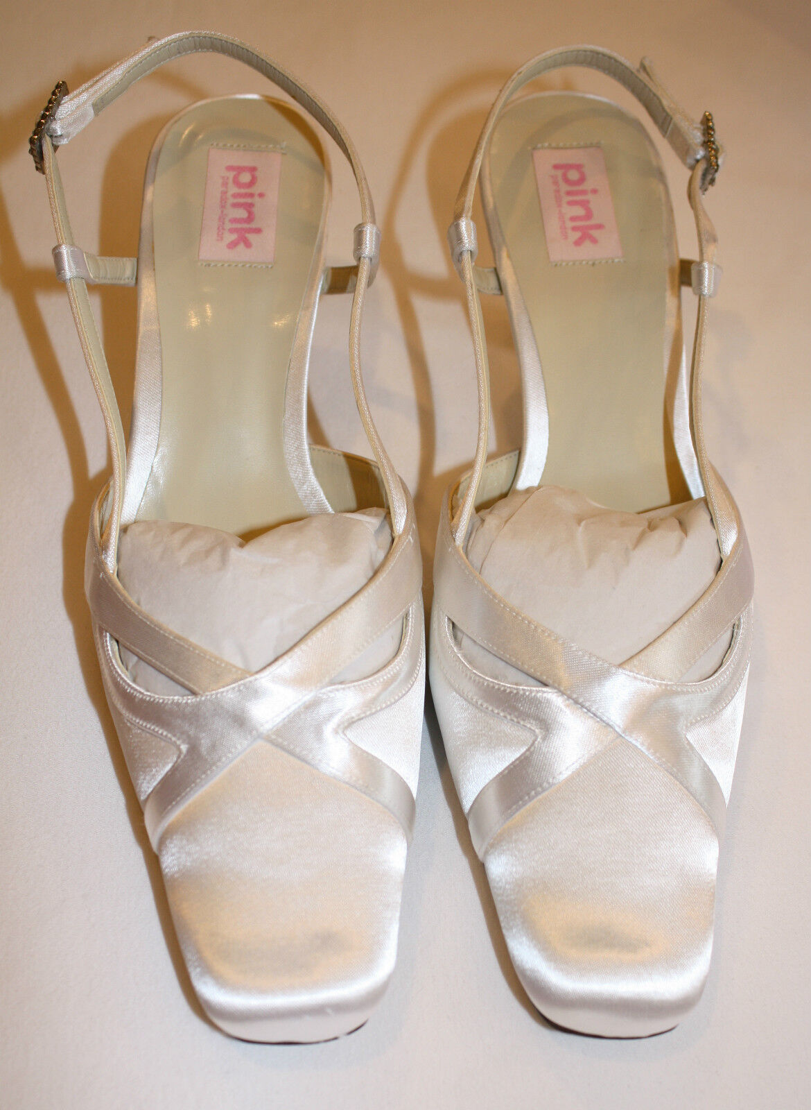 White Paradox Satin Shoes by Pink Paradox White with Rhinestones at Buckle - Size 7 1/2 eab33a