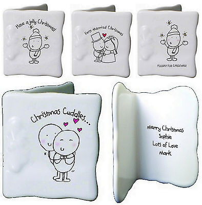 Chilli /& Bubbles Baby/'s First Christmas Bone China Personalise Mini Message Card