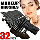 32PCS Cosmetic Make Up Makeup Brushes Brush Set Kit Goat Hair + Leather Case