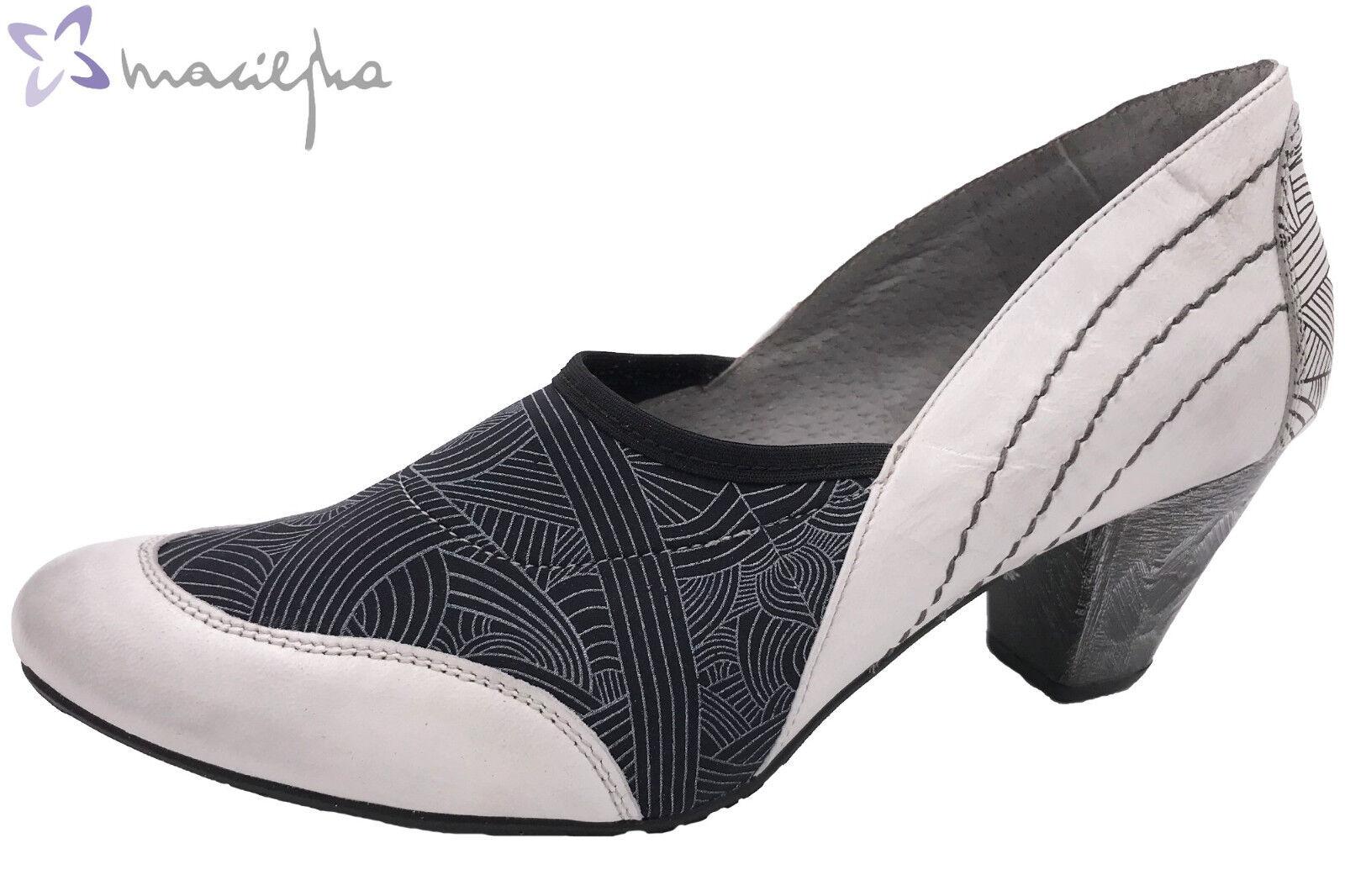 Maciejka Damen Pumps Weiß Schwarz Leder 02881-11-00-5 NEU elegante Schuhe
