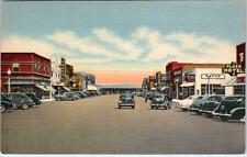 PECOS, Texas  TX    OAK STREET NORTH  ca 1940s  Street Scene Linen  Postcard