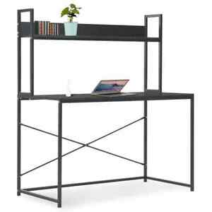 vidaXL-Computer-Desk-Black-120cm-with-Bookshelf-PC-Writing-Table-Workstation