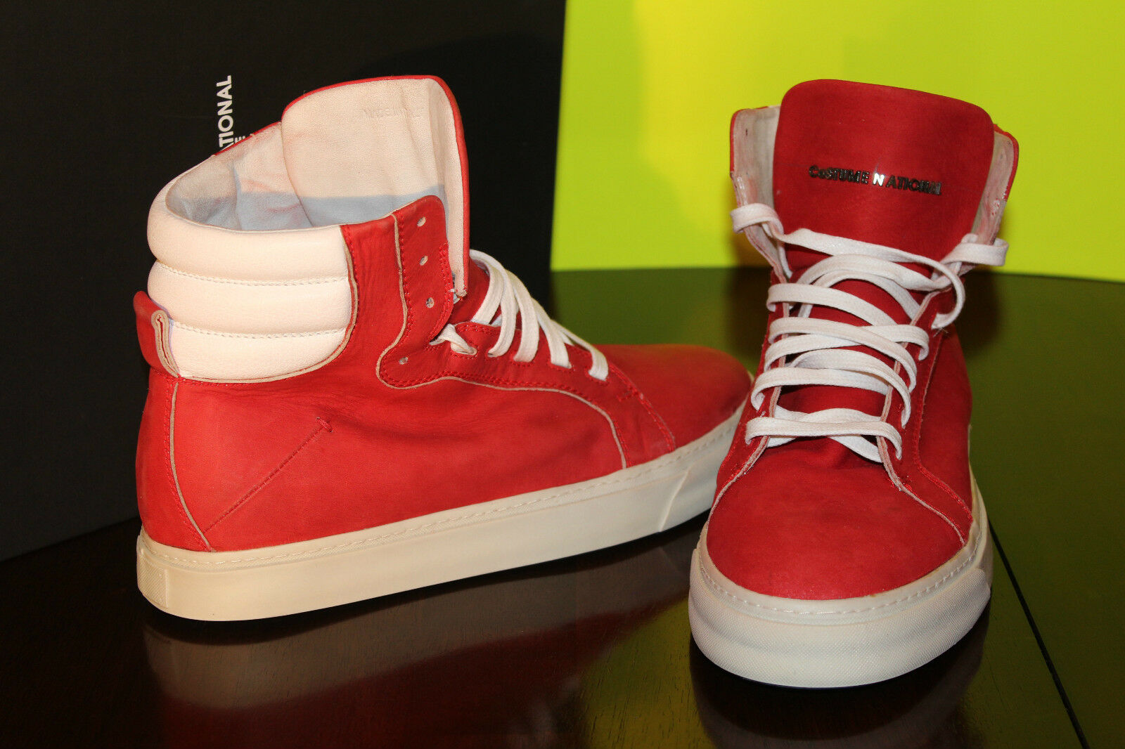COUSTUME NATIONAL LEATHER HIGH TOP ROSSO BIANCO  8us  526
