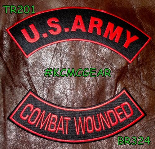 US ARMY COMBAT WOUNDED Red on Black Military Patches Set for Biker Vest Jacket