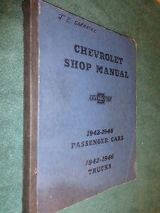 1942-1948 CHEVROLET CAR AND TRUCK SHOP MANUAL /ORIGINAL ...