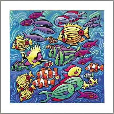 "Art print personally signed by artist Linda Huesmann 12/"" x 12/"" Fish Harmony"