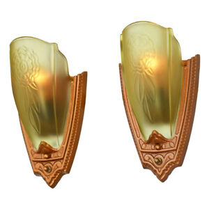 Beau Image Is Loading 1930s Pair Art Deco Wall Sconces Glass Slip