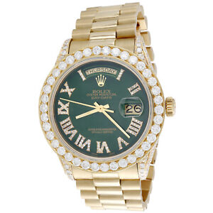 18K Gold 36mm Rolex President Day-Date 18038 Diamond Watch Green Dial 5.75 CT.