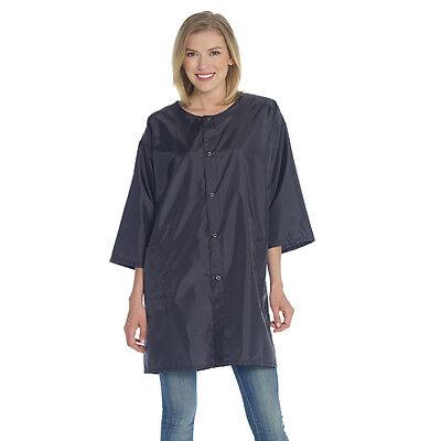 Hair Stylist Jacket Cover Up Black Nylon Snap Closure - One Size DTA008/SE128