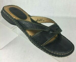 Born-Womens-Black-Leather-Thong-Sandals-Flats-US-Size-6