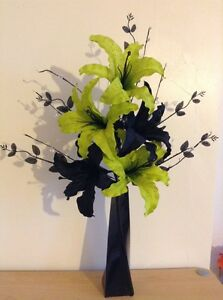 Artificial silk flower arrangement lime green black lilies in slim image is loading artificial silk flower arrangement lime green amp black mightylinksfo