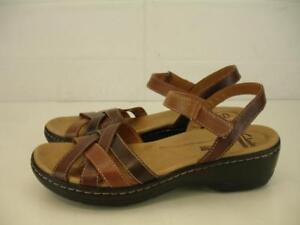 77ccf4a09c8 Womens 9 M Clarks Lexi Marigold Brown Woven Leather Sandals Ankle ...