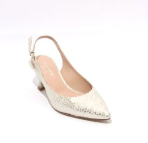Isabelle-333c-Gold-Gray-Suede-Leather-Slingback-Pointy-Heel-Pumps-39-5-US-9-5
