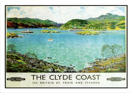 The Clyde Coast Railway Vintage Retro Oldschool Old Good Price Poster