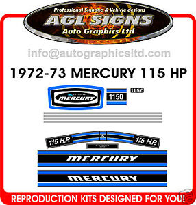 1973  MERCURY MARINE 150 hp 6cyl Outboard Decal Set Reproductions  1500