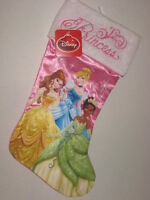 Disney Princess Christmas Stocking Cinderella Belle Tiana Pink Satin 20