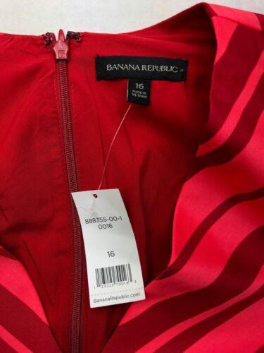 Banana Republic NWT Size 4-16 Short Sleeve Red Pink Striped V Neck Dress  80