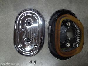 Harley-Davidson-Chrome-Air-Filter-Housing-Cover-Base-Chopper-Bobber-Assembly