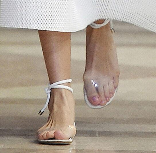 Nueva Nueva Nueva camiseta para mujer Roma Con Cordones Puntera Abierta Transparente Sandalia plana y Correa en el Tobillo Zapatos  caliente