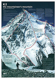 k2 the mountaineer 39 s mountain spectacular climbing map history wall chart poster ebay. Black Bedroom Furniture Sets. Home Design Ideas