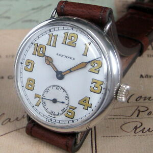 Mens-Original-1915-Longines-WWI-Military-Sterling-Silver-Swiss-Made-TRENCH-Watch