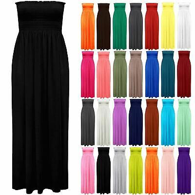 Womens Sleeveless Sheering Boobtube Bandeau Ladies Plain Side Split Maxi Dress