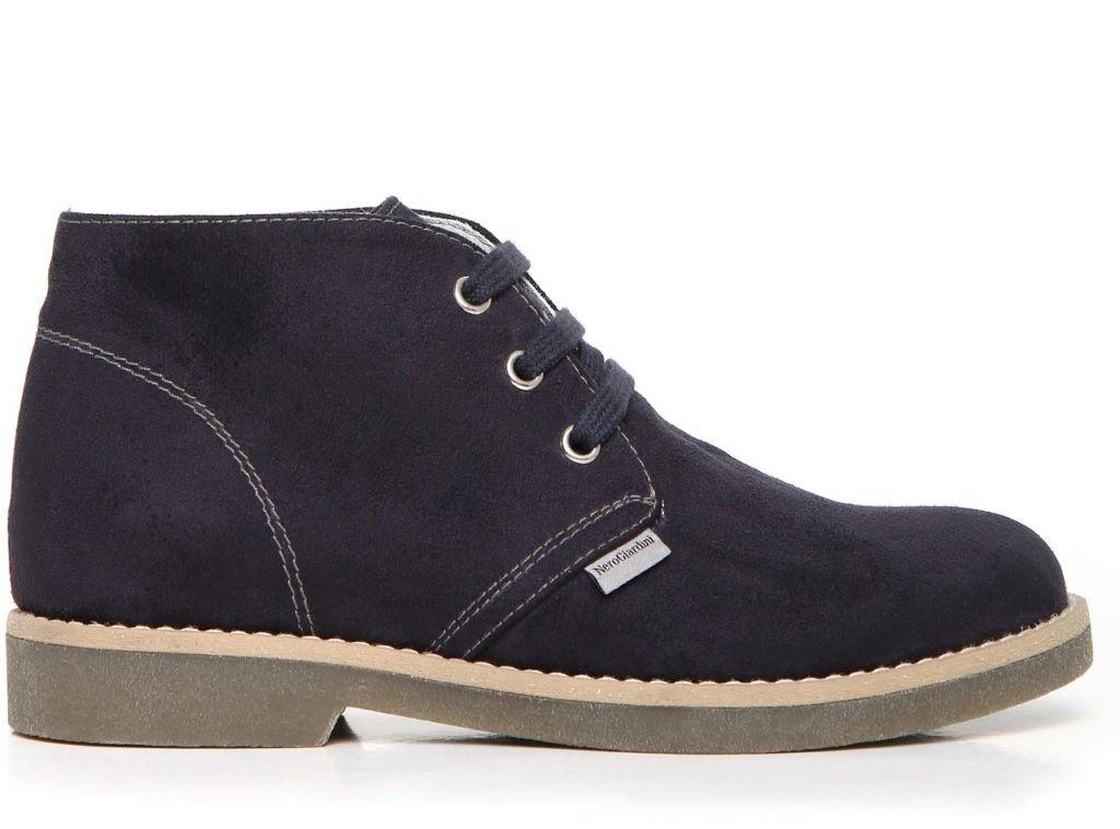 black GIARDINI Teen A734331M shoes de niño hombre joven botas safari ante