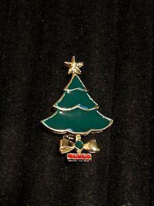 Vintage-Estate-Gold-Tone-Green-Red-Enamel-Christmas-Tree-Pin-Brooch
