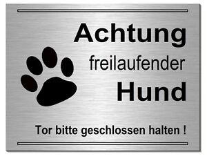 Freilaufender-hund--200 X 150 X 3 Mm Alu-edelstahl-optik-schild-warnschild-hund Möbel & Wohnen Dekoration