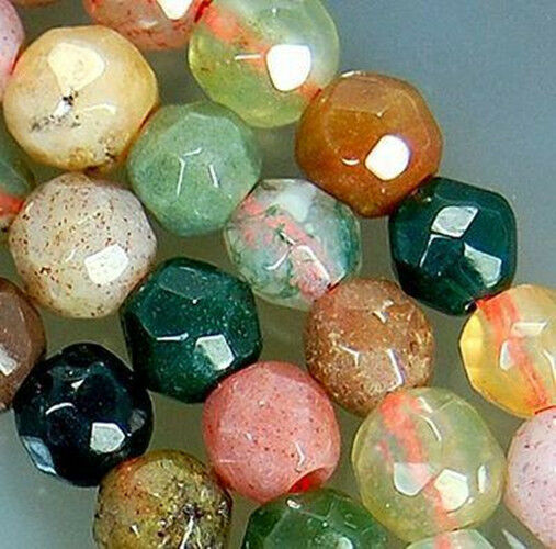 "Natural 4mm Faceted Indian Agate Round Beads 15"" AAA"