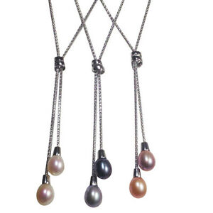 Elegant-Double-Drop-Freshwater-Pearl-Necklace-Sterling-Silver-Chain