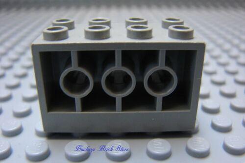Lego Stein 6813 6984 6897 Modifiziert 2 X 4 X 2 mit Löchern Seitlich Hellgrau
