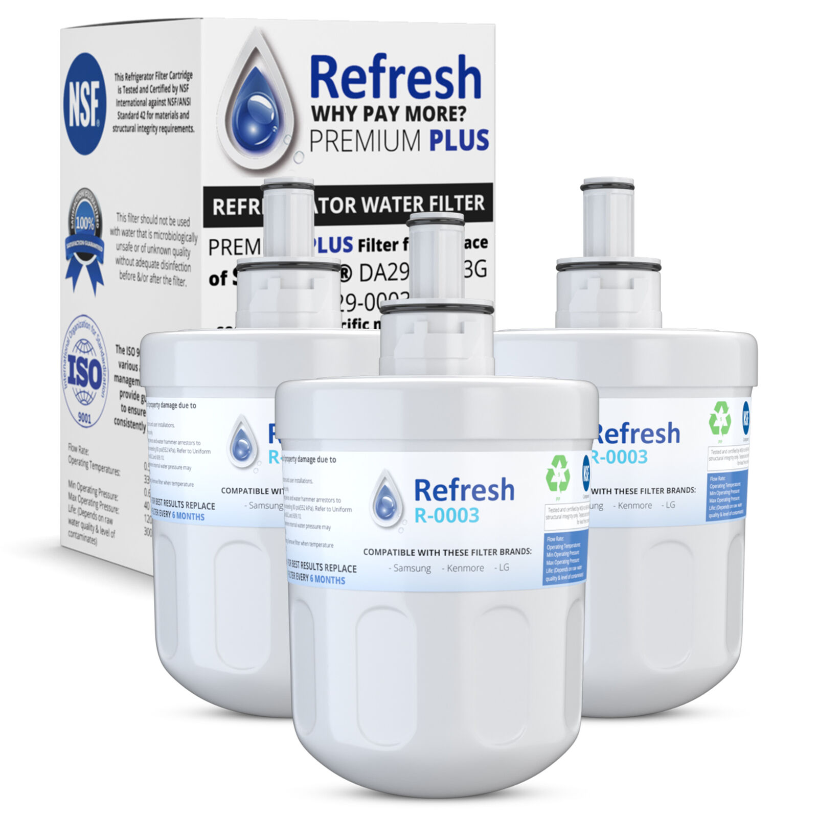 Replacement For Samsung RS22HDHPNSR Refrigerator Water Filter - by Refresh