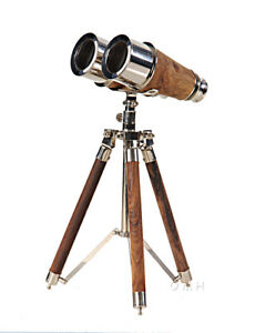 Solid-Brass-Victorian-Binoculars-7-034-w-Tripod-Wood-Nickel-Finish-Nautical-Decor