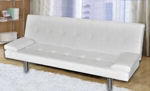 Divano Letto Bianco Ecopelle : Divano letto reclinabile 3 posti salotto ecopelle bianco sofa apribile