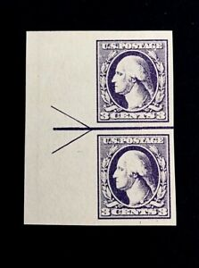 US-Stamps-Scott-535-Type-IV-Horiz-Joint-Line-Pair-1918-XF-M-NH-Margin-arrow