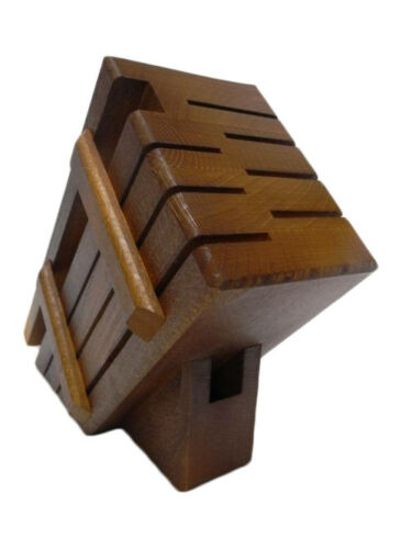 Wooden block for 7 knives and whetstone rack set holder storage kitchen BROWN