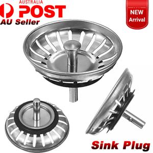 2x Stainless Steel Kitchen Bathroom Sink Strainer Stopper Waste Plug