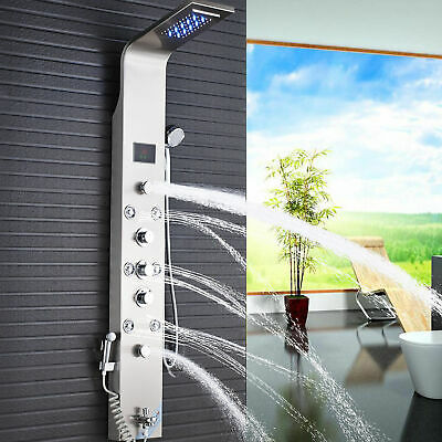 Brushed Nickel Shower Panel Tower Rainfall/&Waterfall Massage Body System Sprayer