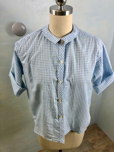 Vtg 60's sz S Peter Pan collar blue gingham blouse