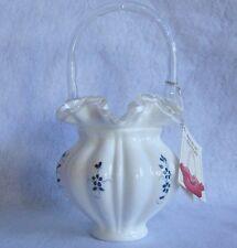 FENTON MILK GLASS ELIZABETH BASKET BLUE FLOWERS , ARTIST SIGNED VINTAGE~PERFECT~