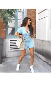7ff78fbe3a5f ZARA BLUE V-NECK LOOSE FITTING JUMPSUIT WITH BUTTONS PLAYSUIT SIZE M ...