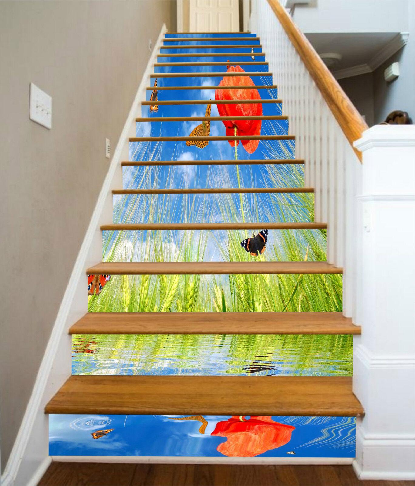 3D Weizen Blaume 329 Stair Risers Dekoration Fototapete Vinyl Aufkleber Tapete DE