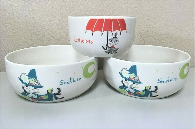 New Moomin Bowl three pieces set Moomintroll Little my Snufkin Made in Japan