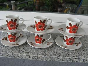 6-TASSES-CAFE-Porcelaine-SELTMANN-Couleur-ROUILLE