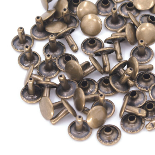 100 x 8mm Two Piece Double Sided Tubular Rivets Metal Round Head Stud Fastener
