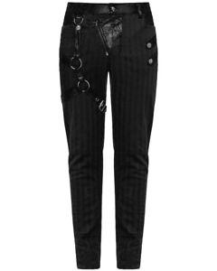 Punk-Rave-Mens-dieselpunk-Pantalones-De-Jeans-Negro-Gotico-Punk-Steampunk-Pantalones-De-Correa