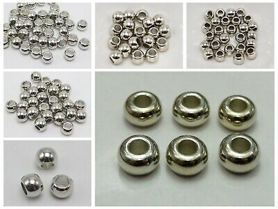 Gold Tone Metallic Acrylic Smooth Ring Spacer Big Hole Pony Beads Pick Your Size